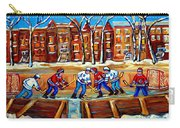 Outdoor Hockey Rink Winter Landscape Canadian Art Montreal Scenes Carole Spandau Carry-all Pouch