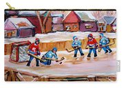 Outdoor Rink Hockey Game In The Village Hockey Art Canadian Landscape Scenes Carole Spandau Carry-all Pouch