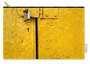 Padlock On An Old Yellow Door Carry-all Pouch