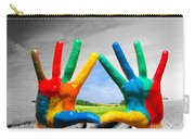 Painted Colorful Hands Showing Way To Colorful Happy Life Carry-all Pouch