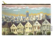 San Francisco Alamo Square - Watercolor Illustration Carry-all Pouch