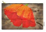 Painted Poppy On Wood Carry-all Pouch
