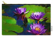 Painted Purple Water Lilies Carry-all Pouch