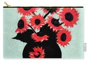 Painterly Red Sunflowers With Purple Carry-all Pouch