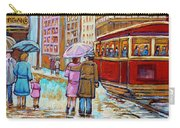 Paintings Of Fifties Montreal-downtown Streetcar-vintage Montreal Scene Carry-all Pouch
