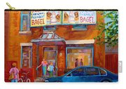 Paintings Of Montreal Fairmount Bagel Shop Carry-all Pouch by Carole Spandau