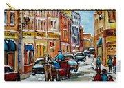 Paintings Of Old Port Quebec Vieux Montreal Memories Rue Notre Dame Snowscenes Art Carole Spandau Carry-all Pouch