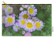 Pale Pink Fleabane Blooms With Decorations Carry-all Pouch