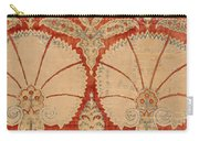 Panel Of Red Cut Velvet With Carnation Carry-all Pouch