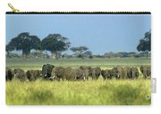 Panorama African Elephant Herd Endangered Species Tanzania Carry-all Pouch