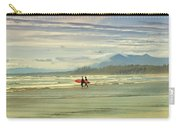 Panoramic Of Surfers On Long Beach, Bc Carry-all Pouch