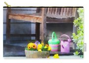 Pansies And Watering Cans On Steps Carry-all Pouch