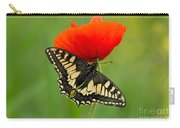 Papilio Machaon Butterfly Sitting On A Red Poppy Carry-all Pouch