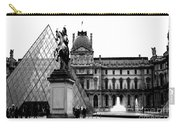 Paris Black And White Photography - Louvre Museum Pyramid Black White Architecture Landmark Carry-all Pouch