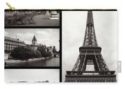 Paris Collage - Black And White Carry-all Pouch