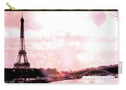 Paris Eiffel Tower Pink - Dreamy Pink Eiffel Tower With Hot Air Balloon Carry-all Pouch