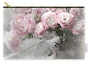 Paris Pink Impressionistic French Roses And Ranunculus - Shabby Chic Romantic Pink Flowers Carry-all Pouch