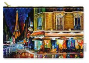 Paris-recruitement Cafe - Palette Knife Oil Painting On Canvas By Leonid Afremov Carry-all Pouch