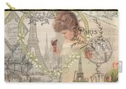 Paris Vintage Collage With Child Carry-all Pouch