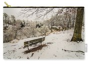 Park Bench In The Snow Covered Park Overlooking Lake Carry-all Pouch