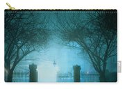 Park Gates At Night In Fog Carry-all Pouch