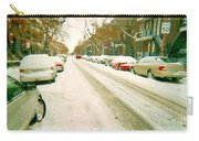 Parked Cars Snowed In Cold December Day Verdun Painting Quebec Winter Scenes Carole Spandau Art Carry-all Pouch