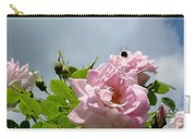 Pastel Pink Roses With Bee Carry-all Pouch