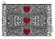 Pattern 34 - Heart Art - Black And White Exquisite Patterns By Sharon Cummings Carry-all Pouch by Sharon Cummings