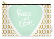 Peace And Love In Aqua And Gold Carry-all Pouch by Linda Woods