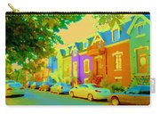 Peaceful Painted Pastel Rowhouses Printemps Plateau Montreal Scene Du Rue Carole Spandau Carry-all Pouch