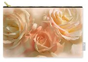 Peach Roses In The Mist Carry-all Pouch by Jennie Marie Schell