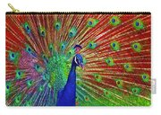 Peacock In Front Of Red Barn Carry-all Pouch