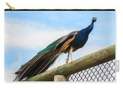 Peacock On Fence 1 Carry-all Pouch