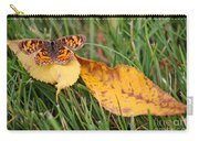 Pearl Crescent Butterfly On Yellow Leaf Carry-all Pouch