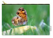 Pearl Crescent Butterfly Square Grass Carry-all Pouch
