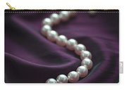 Pearl Necklace On Purple Silk Carry-all Pouch