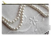 Pearls And Old Linen Carry-all Pouch by Barbara Griffin