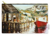 Peggy's Cove Nova Scotia Fishing Village With Red Boat Carry-all Pouch