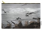 Pelicans - Ocean-fog - Wood Pilings  Carry-all Pouch