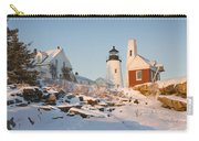 Pemaquid Point Lighthouse Winter In Maine  Carry-all Pouch by Keith Webber Jr