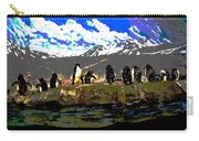 Penguins Line Dance Posterized 2 Carry-all Pouch