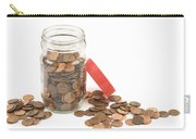 Pennies And Jar On White Background Carry-all Pouch