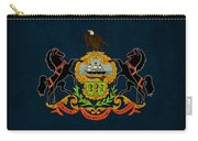 Pennsylvania State Flag Art On Worn Canvas Carry-all Pouch by Design Turnpike