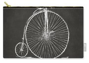 Penny-farthing 1867 High Wheeler Bicycle Patent - Gray Carry-all Pouch