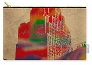 Penobscot Building Iconic Buildings Of Detroit Watercolor On Worn Canvas Series Number 5 Carry-all Pouch