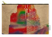 Penobscot Building Iconic Buildings Of Detroit Watercolor On Worn Canvas Series Number 5 Carry-all Pouch by Design Turnpike