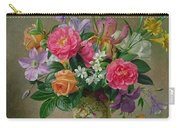 Peonies And Irises In A Ceramic Vase Carry-all Pouch by Albert Williams