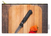 Peppers And Knife On Cutting Board Carry-all Pouch