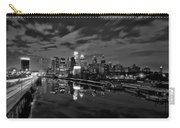Philadelphia From South Street At Night In Black And White Carry-all Pouch