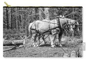 Photograph Of Horses Pulling Logs In Maine Forest Carry-all Pouch